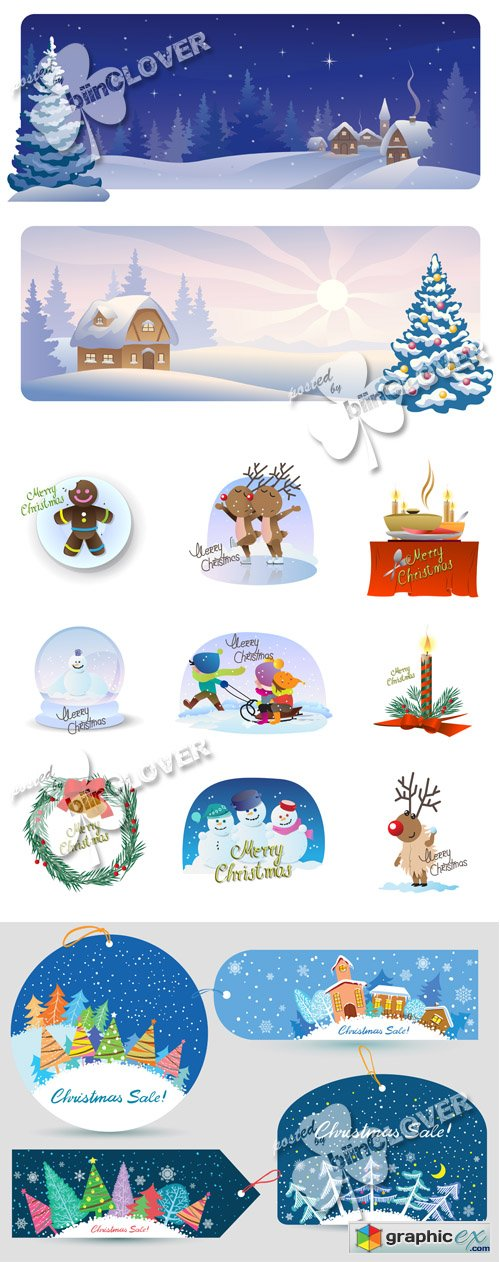 Vector Christmas cards and icons 0495