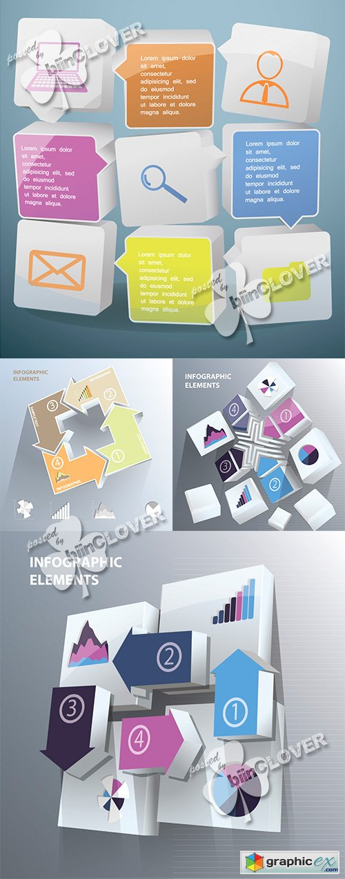 Vector Infographic arrows with numbers 0495