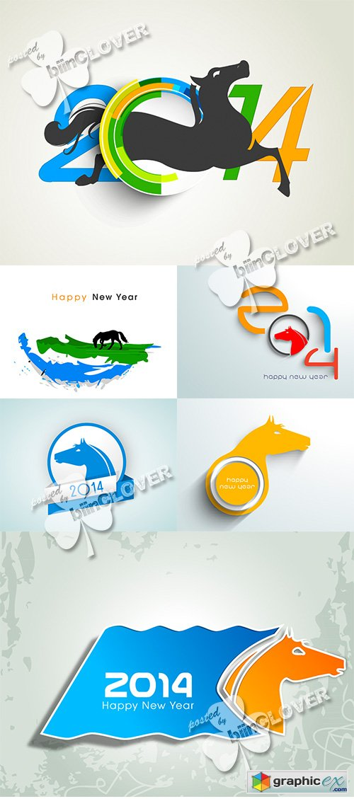 Vector New Year 2014 with Chinese symbol 0495