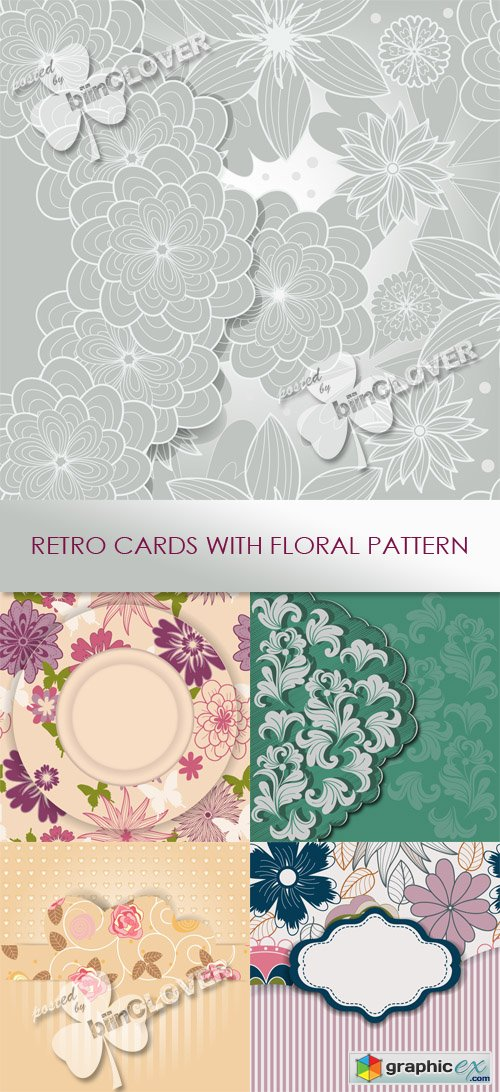 Vector Retro card with floral pattern 0547