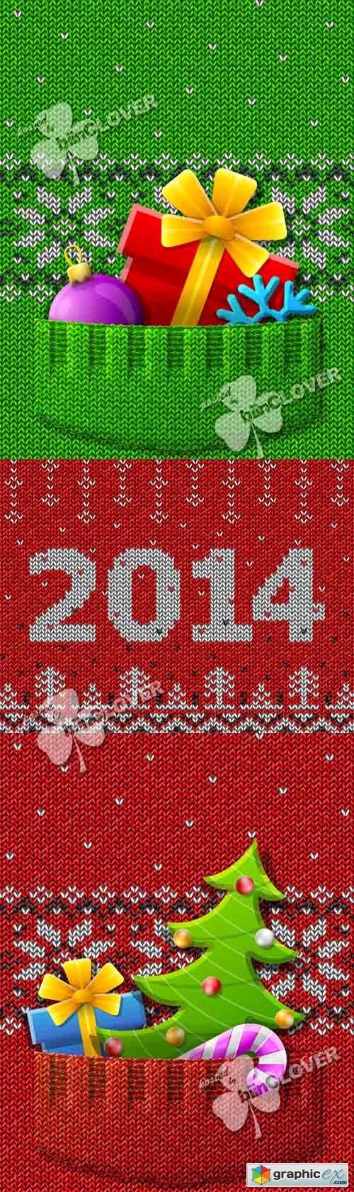 Vector New Year 2014 knitted cards 0492