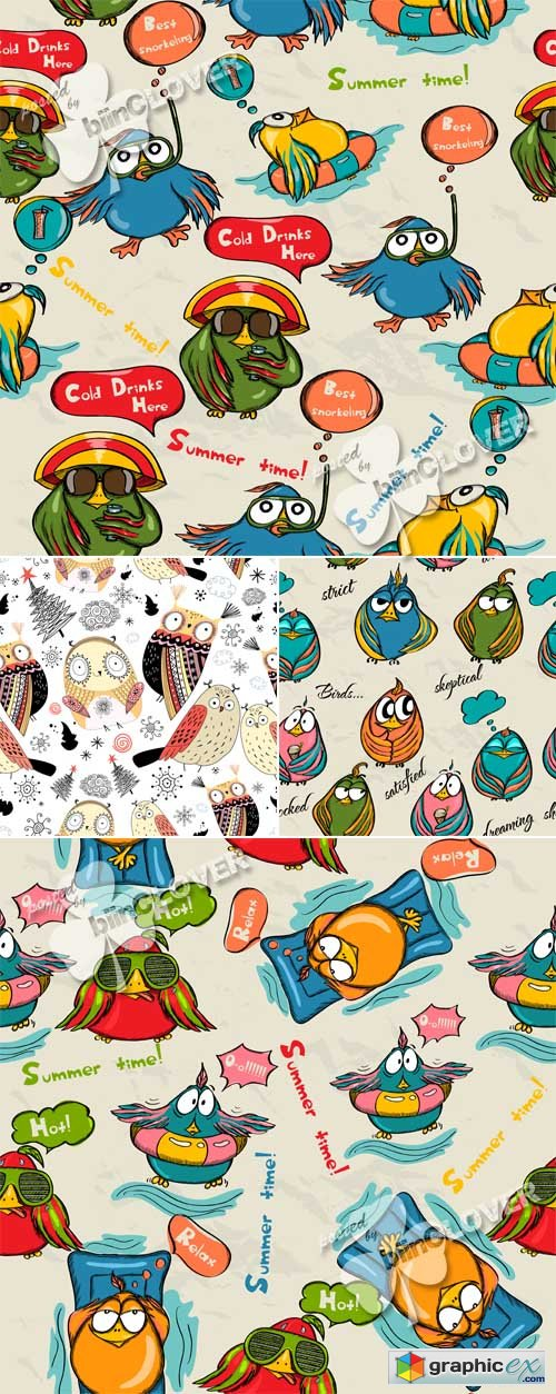 Vector Backgrounds with funny birds 0491