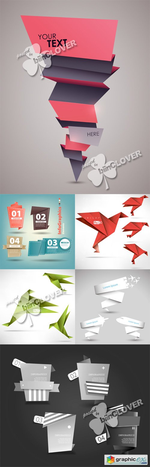 Vector Origami design elements 0491
