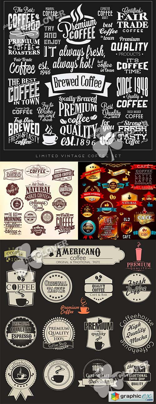 Vector Coffee labels and calligraphic elements 0490