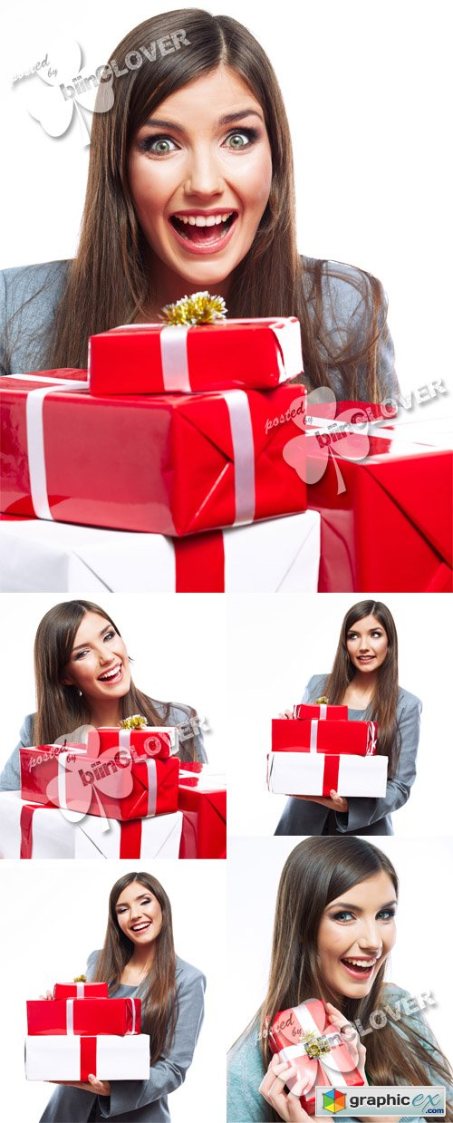 Woman with Christmas gifts 0489