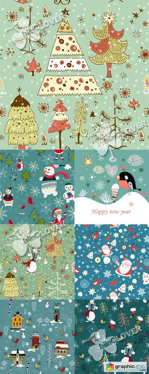 Vector Christmas cards with cute characters 0488