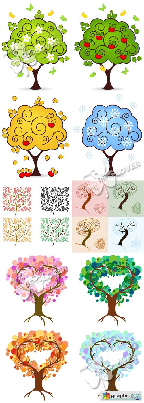 Vector Four seasons tree background 0488