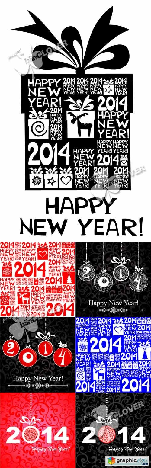 Vector 2014 Happy New Year greeting card 0488