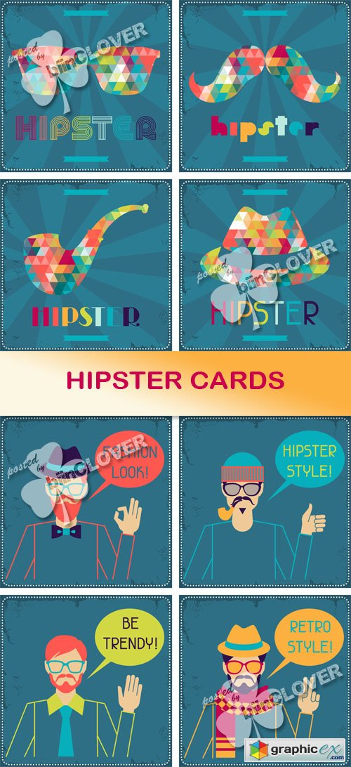 Vector Hipster cards 0488