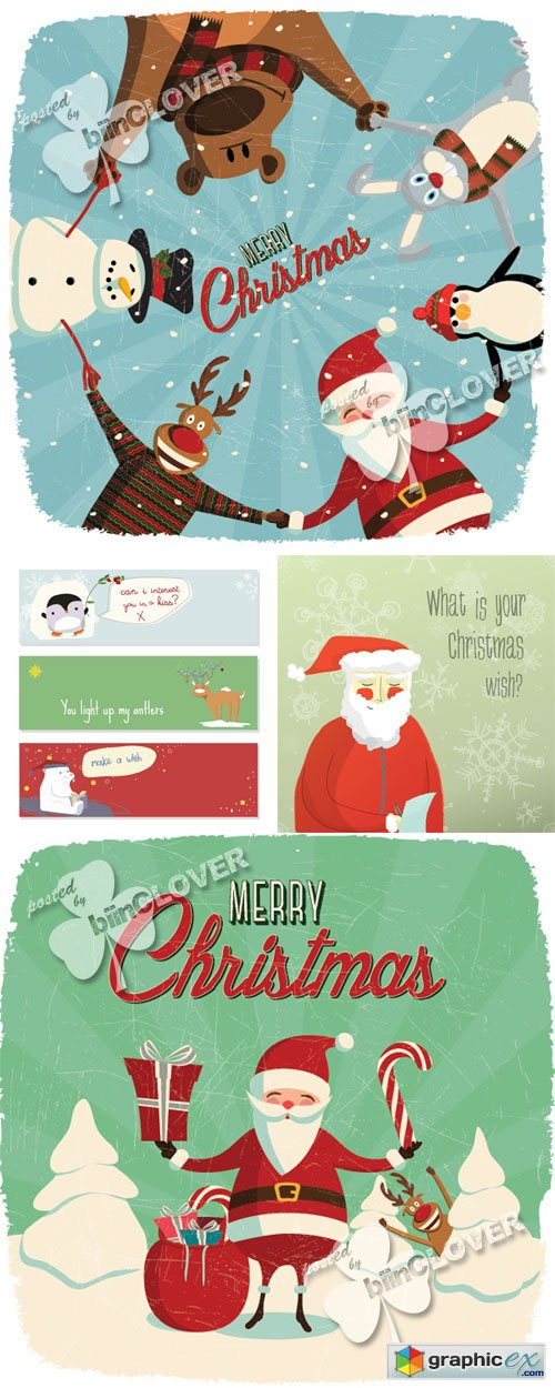 Vector Merry Christmas cards 0548