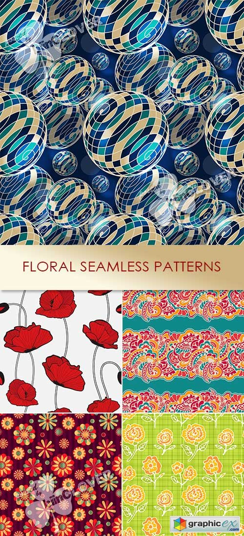 Vector Floral seamless patterns 0487