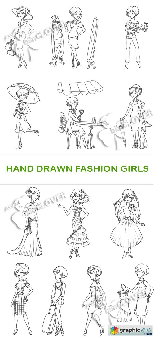 Vector Hand drawn fashion girls 0486