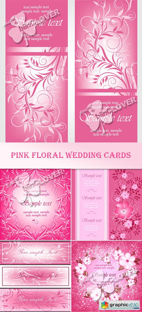 Vector Pink floral wedding cards 0485
