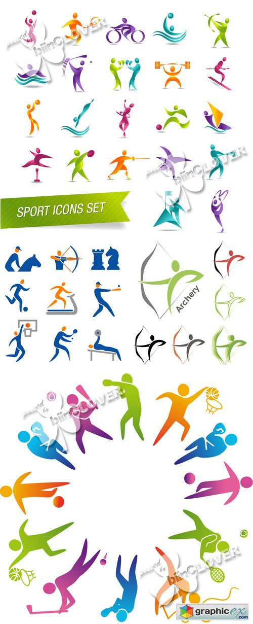 Vector Colorful sports icon set 0485