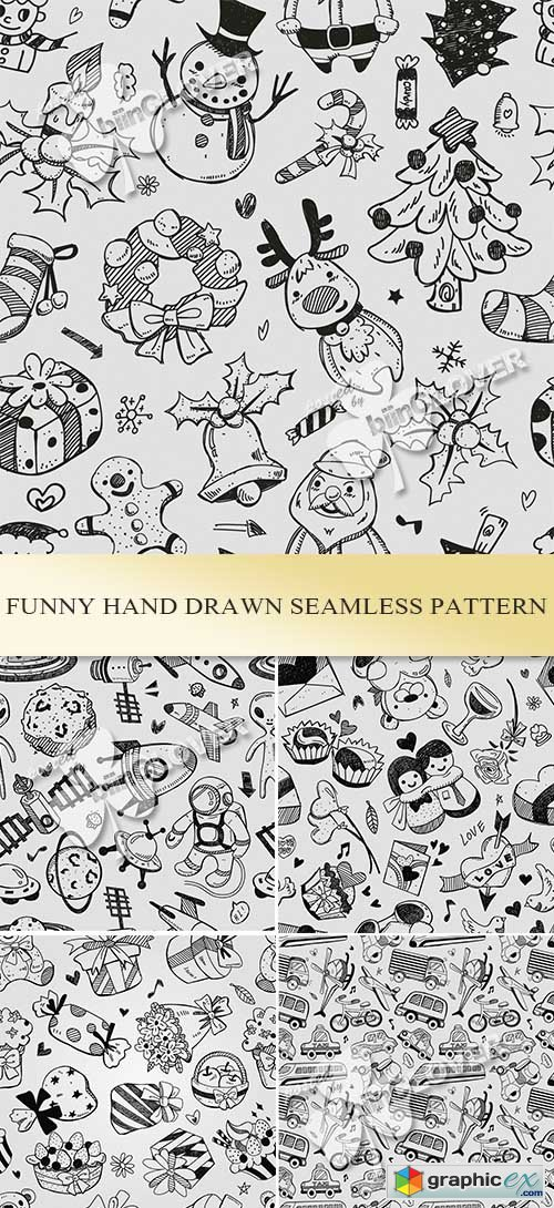 Vector Funny hand drawn seamless pattern 0485