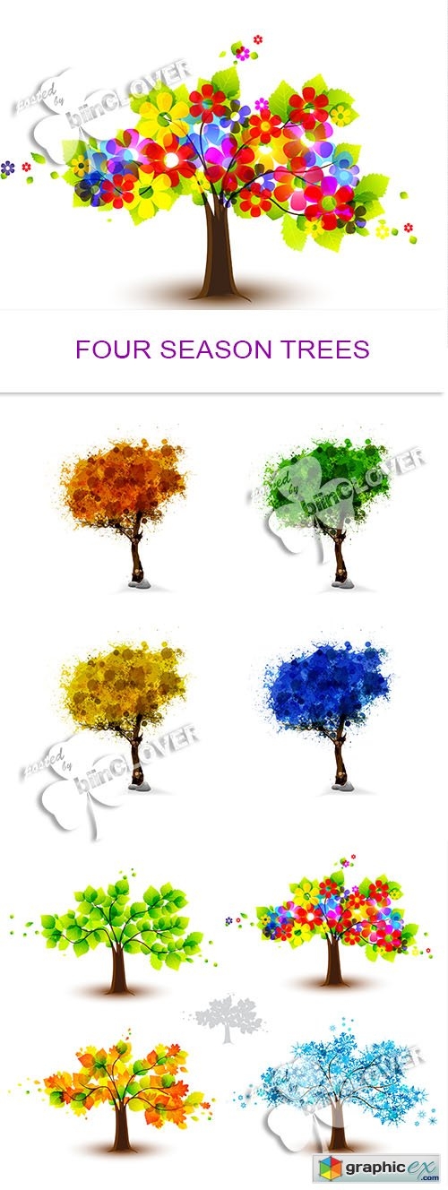 Vector Four season trees 0485