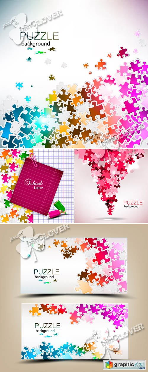 Vector Background with puzzle pieces 0485
