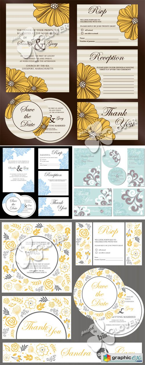 Vector Floral wedding invitation cards 0484