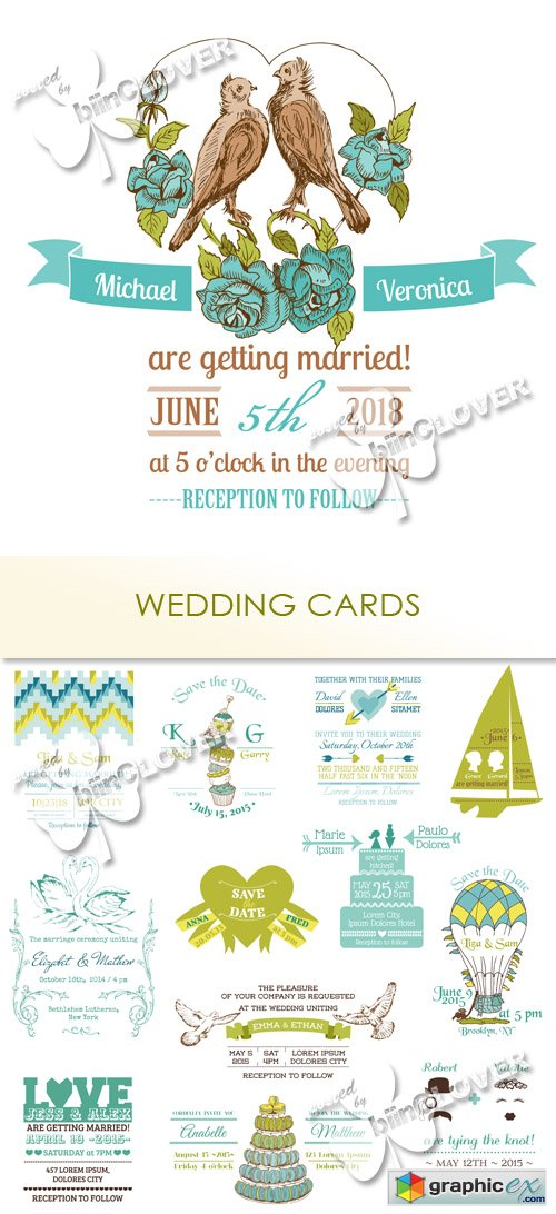 Vector Wedding �ards 0484