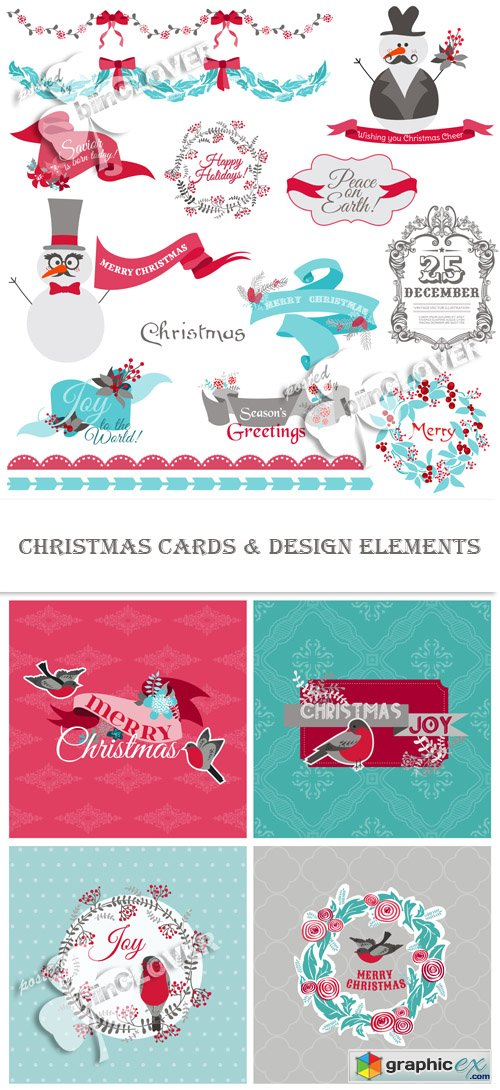 Vector Christmas сards and design elements 0483