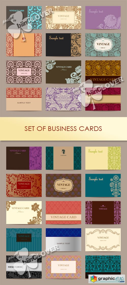 Vector Set of business cards 0483