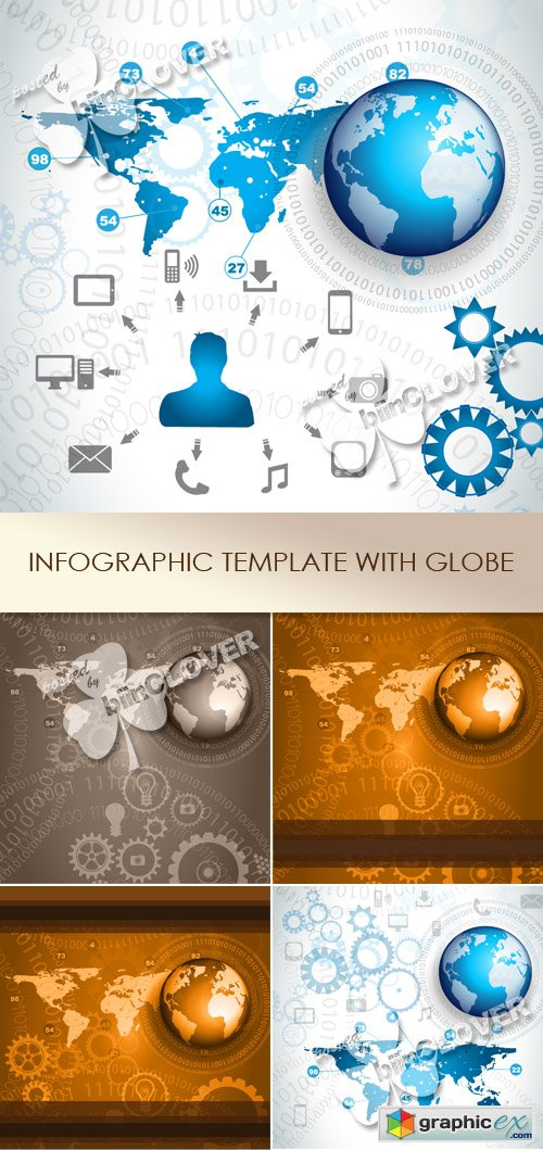 Vector Infographic template with globe 0482