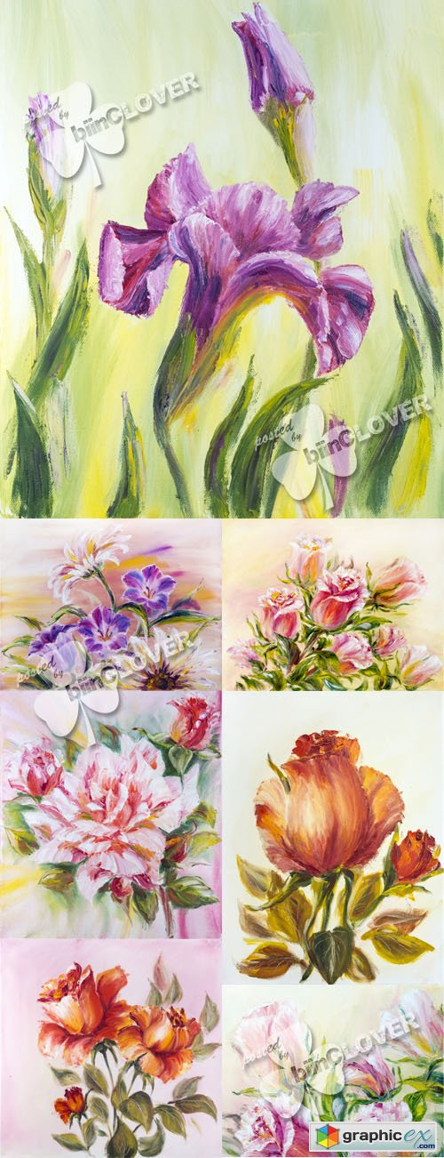 Beautiful  flowers watercolor 0482