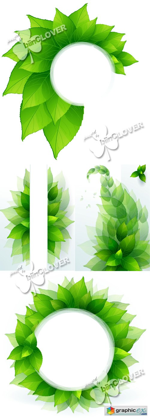 Vector Green leaves border 0480