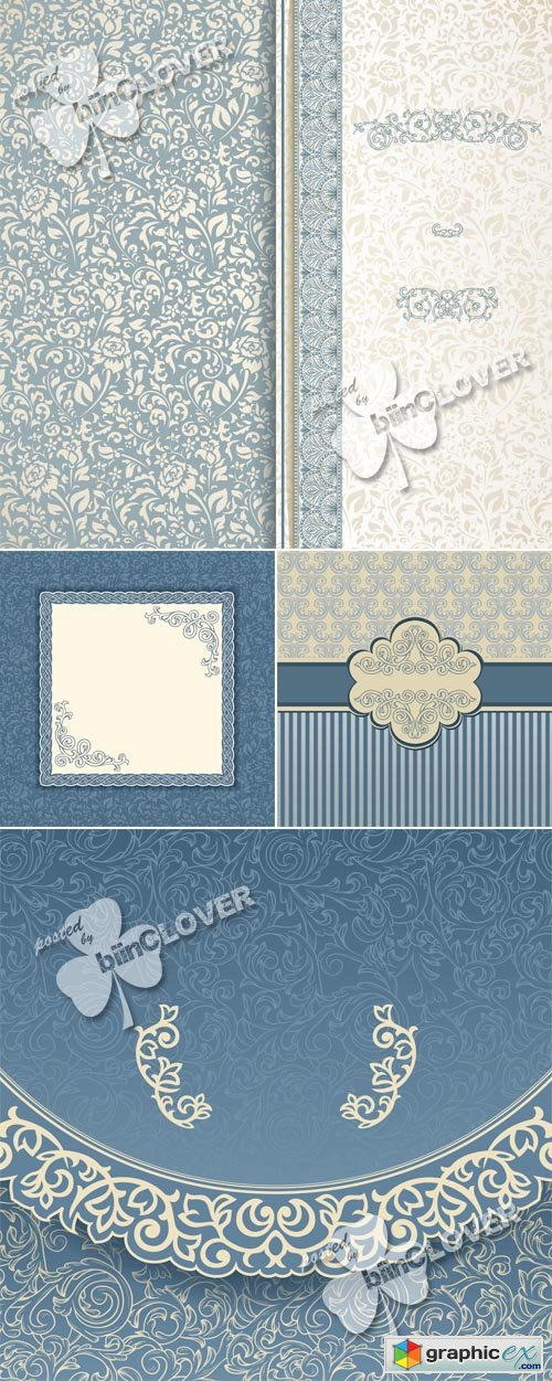 Vector Vintage blue background 0478