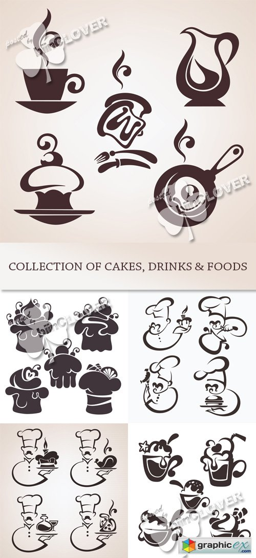 Vector Collection of cakes, drinks and foods 0476