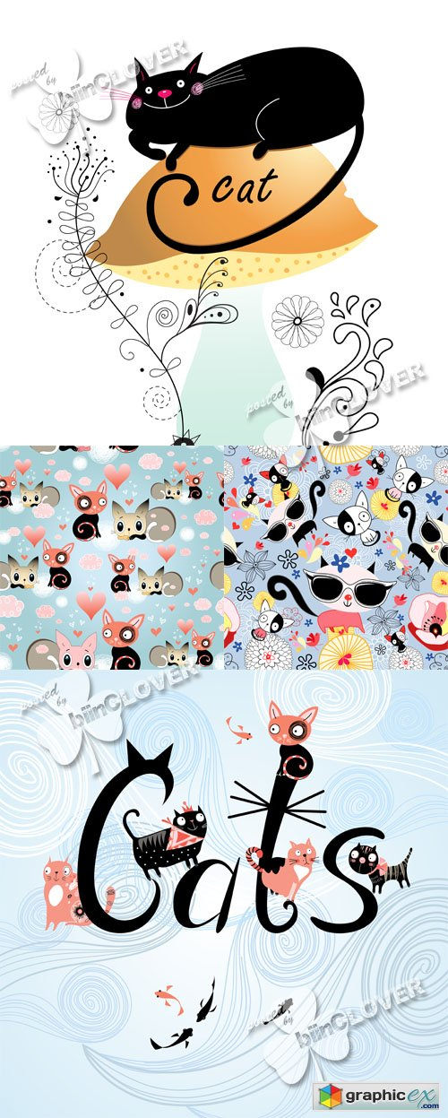 Vector Texture of funny kittens 0475