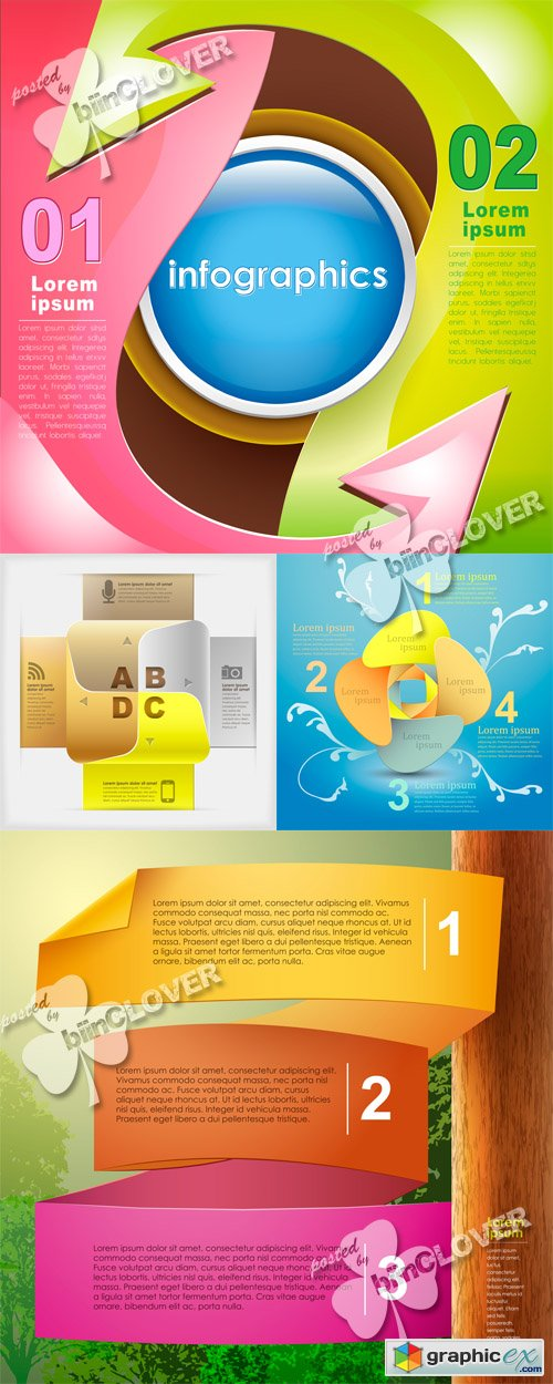 Vector Abstract 3d paper infographics 0475