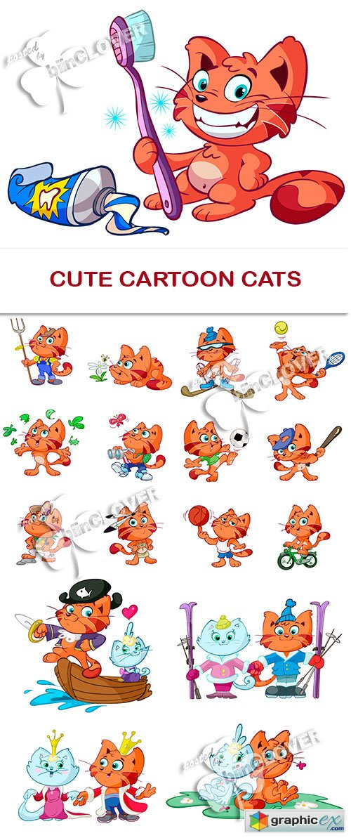 Vector Cute cartoon cats 0471
