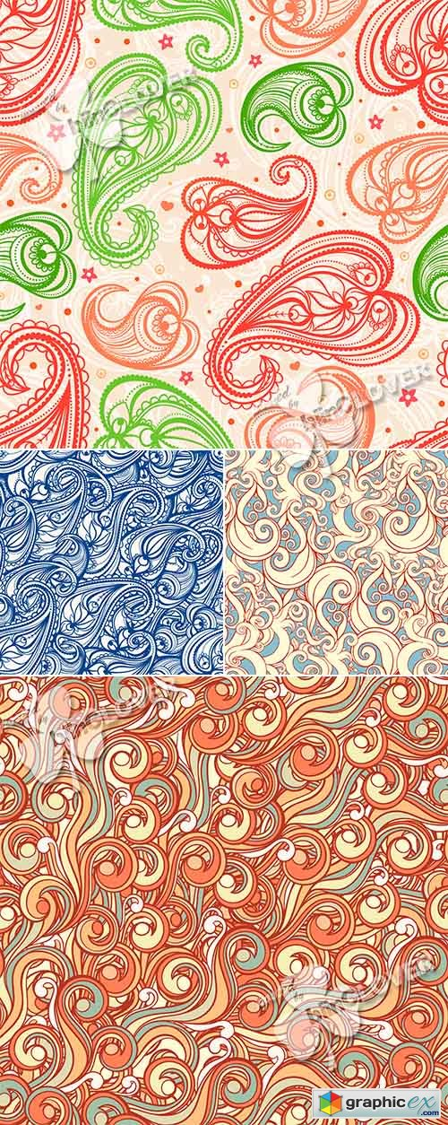 Vector Background with swirls, leaves and paisley 0470