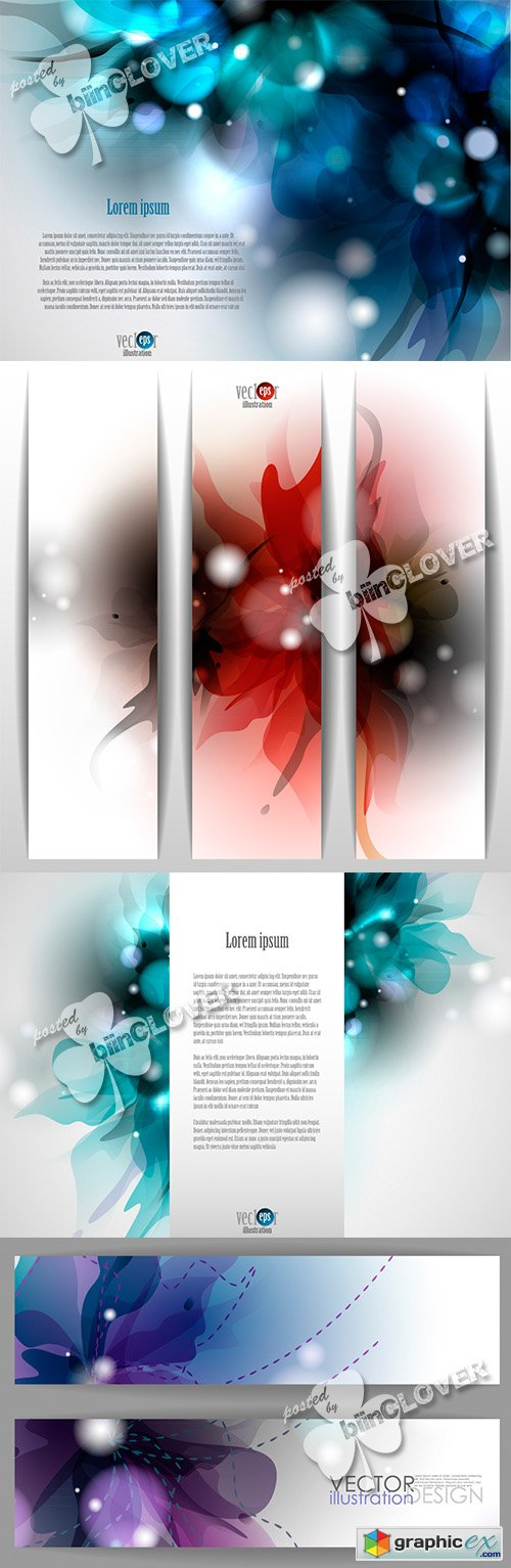 Vector Floral backgrounds and banners 0470