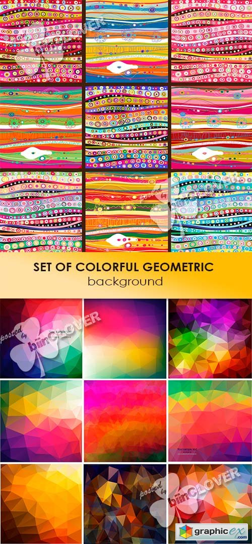Vector Set of colorful geometric background 0469