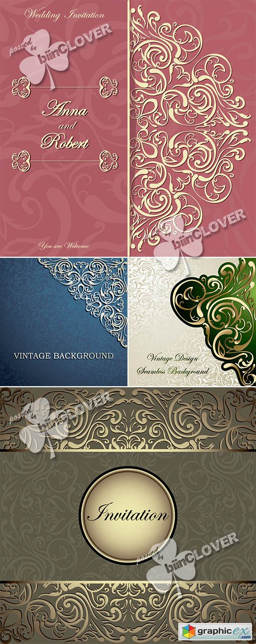 Vector Card with lace design 0469