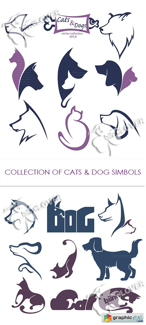 Vector Collection of cats and dogs symbols 0469