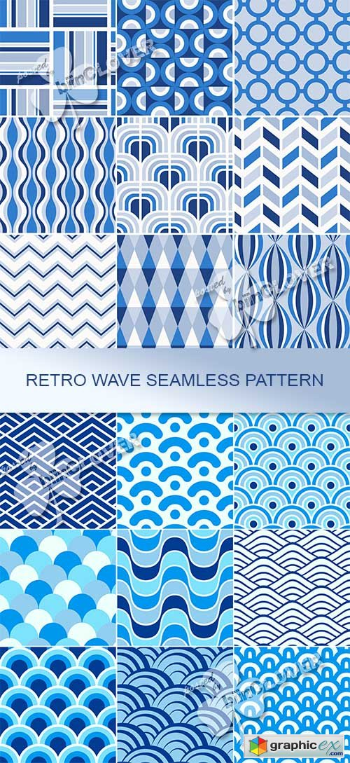 Vector Retro wave seamless  pattern 0467