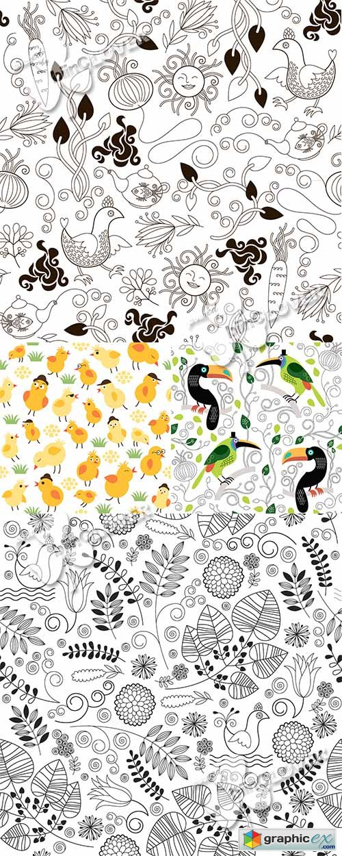 Vector Funny seamless floral pattern 0467