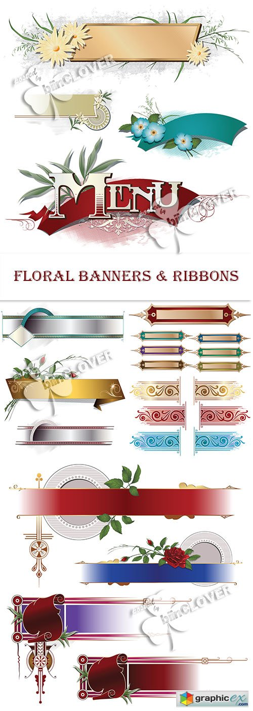Vector Floral banners and ribbons 0467