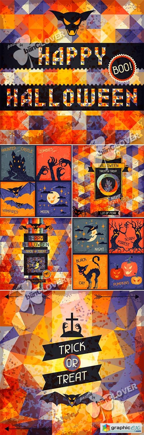 Vector Happy Halloween background 0466