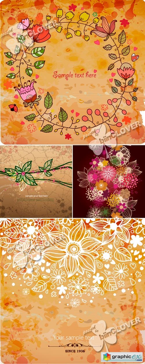 Vector Floral grunge background 0462