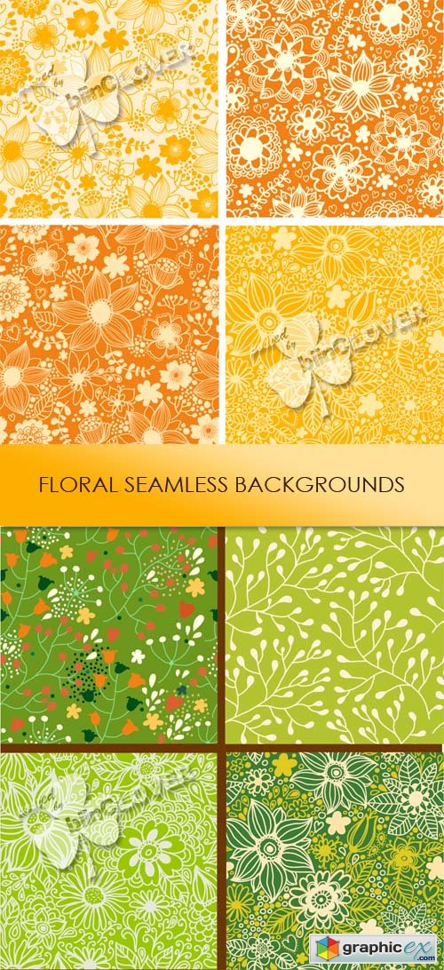 Vector Floral seamless backgrounds 0462