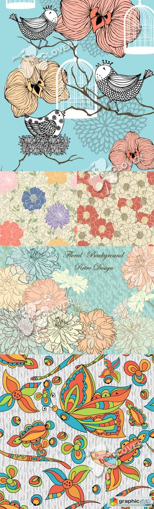 Vector Floral seamless background 0461