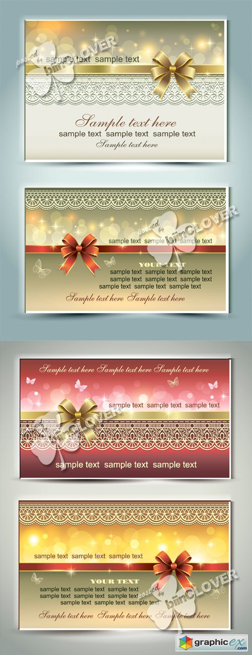 Vector Greeting cards with bows 0460