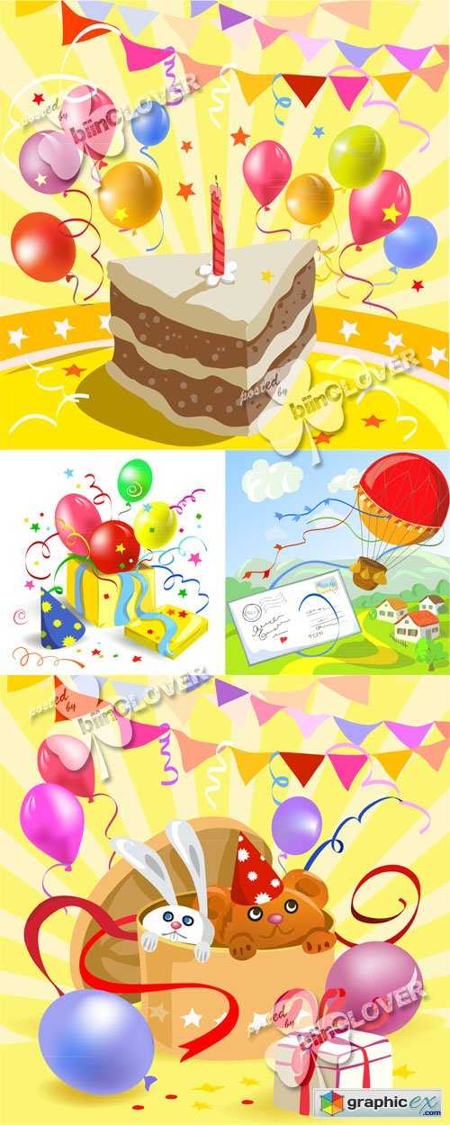 Vector Funny birthday cards 0459