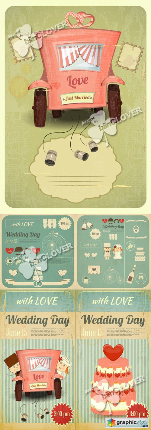 Vector Wedding card in retro infographics 0458
