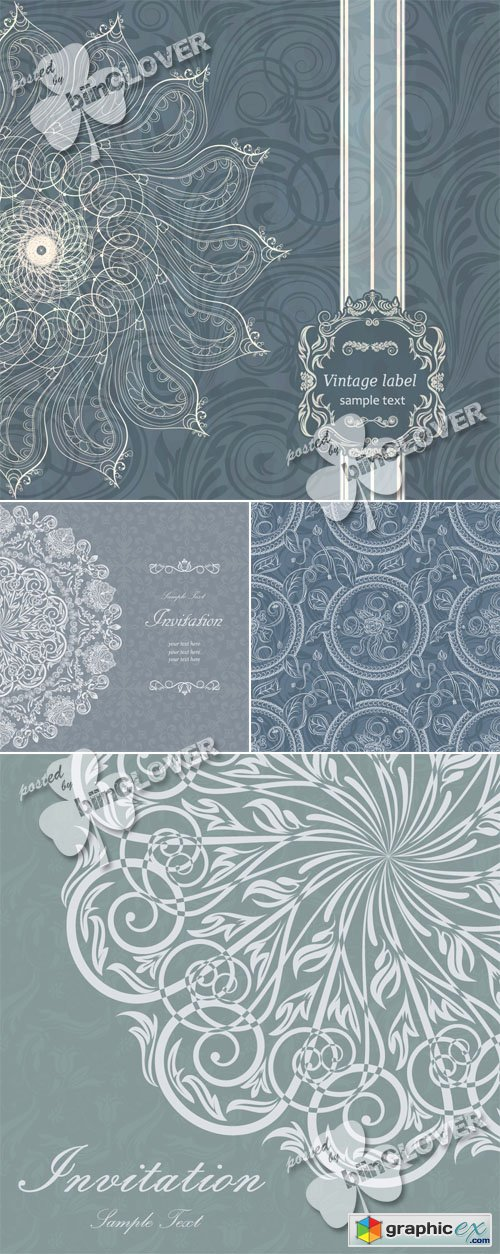 Vector Vintage invitation cards 0458