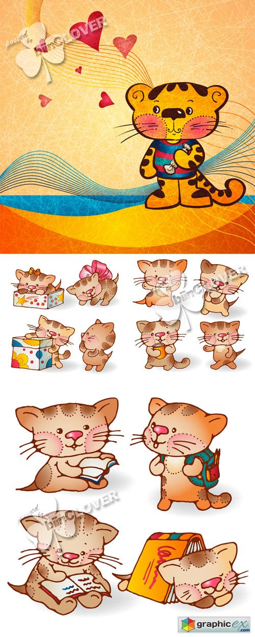 Vector Funny cartoon kittens 0458